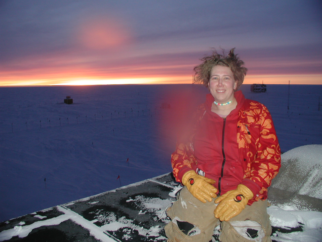 me and an imminent sunrise at south pole